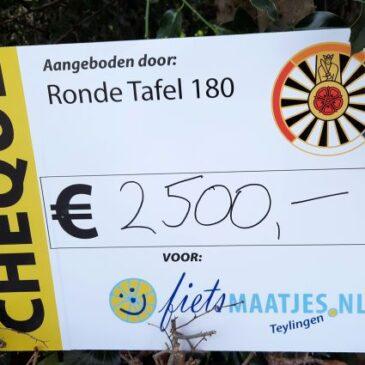 Cheque van €2500 van Ronde Tafel 180